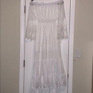 Women's White Lacy Maxi Boho Dress